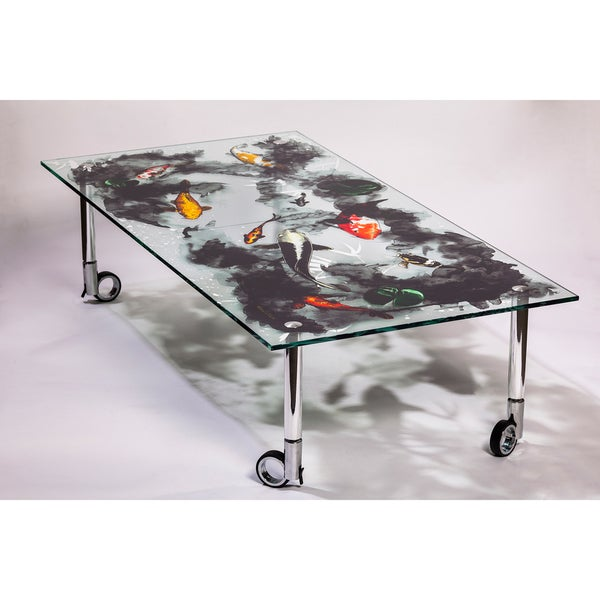 Maxwell Dickson Glass 'Koi' Art Print Coffee Table