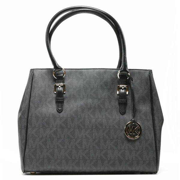 MICHAEL Michael Kors Women's 'Jet Set' Black Logo Pattern Medium Work Tote