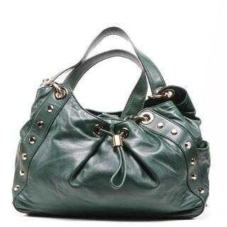 Michael Kors 'Ludlow Stud' Large Leather Hunter Green Shoulder Bag