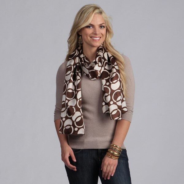 Peach Couture Women's Brown and White Circle Pattern Scarf
