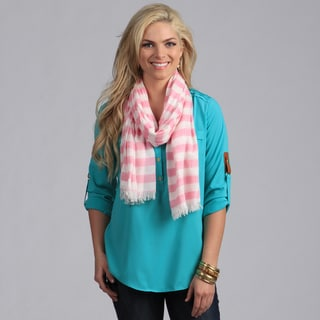 Peach Couture Women's Pink and White Nautical Stripe Pattern Scarf