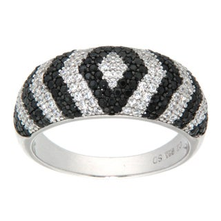 Pearlz Ocean Sterling Silver Round-cut Black/White Cubic Zirconia Fashion Ring