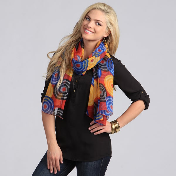 Peach Couture Women's Red and Multicolored Circle Pattern Scarf