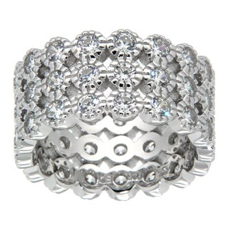 Pearlz Ocean Sterling Silver White Cubic Zirconia Band