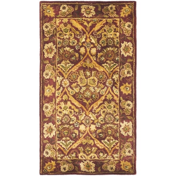 Safavieh Handmade Heritage Wine Red Wool Rug (2' x 3')