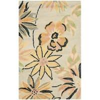 Safavieh Handmade Contemporary Blossom Beige/ Blue Wool Rug - 2'6 x 4'