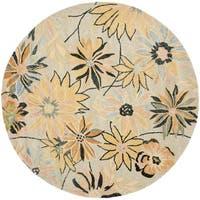Safavieh Handmade Blossom Beige Wool Rug with Thick Pile - 6' x 6' Round