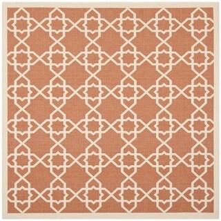 Safavieh Courtyard Geometric Trellis Terracotta/ Beige Indoor/ Outdoor Rug (6'7 Square)