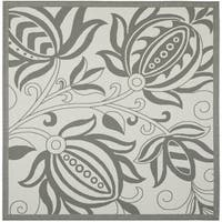 Safavieh Courtyard Bloom Light Grey/ Anthracite Indoor/ Outdoor Rug - 6'7 Square