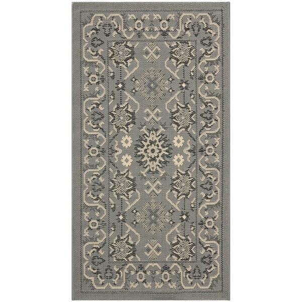 Safavieh Courtyard Charm Grey/ Cream Indoor/ Outdoor Rug (2' x 3'7)