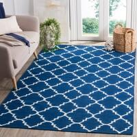 Safavieh Handwoven Moroccan Reversible Dhurrie Transitional Geometric Dark-Blue Wool Rug - 5' x 8'