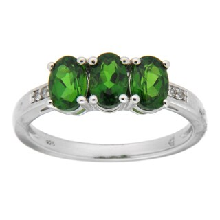Pearlz Ocean Sterling Silver Chrome Diopside/ White Topaz Fashion Ring Jewelry for Womens