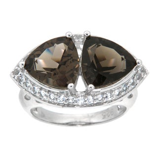 Pearlz Ocean Sterling Silver Smokey Quartz/ White Topaz Ring Jewelry for Womens - Brown