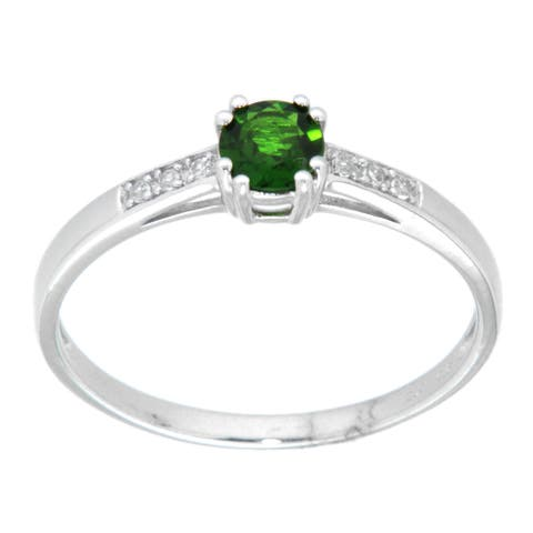 Pearlz Ocean Sterling Silver Chrome Diopside and White Topaz Fashion Ring Jewelry for Womens - Green