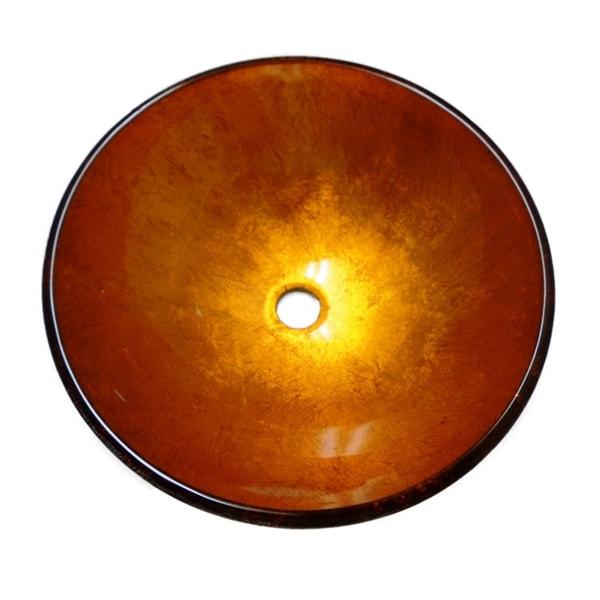 Golden Orange Blossom Tempered Glass Vessel Bathroom Sink
