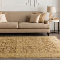 Hand-knotted Tinmouth Brown Wool Area Rug - 9' x 13'