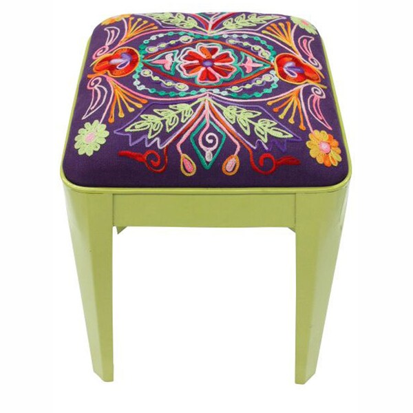 nuLOOM Ethnic Chic Green Ottoman Stool