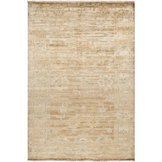 Hand-knotted Waltham Beige Wool Rug (3'6 x 5'6)