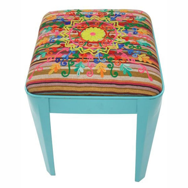 nuLOOM Ethnic Chic Turquoise Ottoman Stool