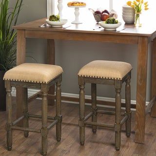 Stones & Stripes Renate Linen Counter Stools (Set of 2)