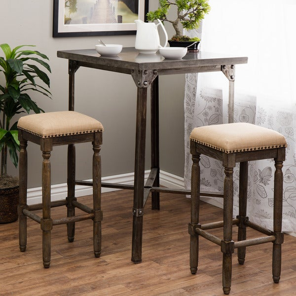 Shop Stones Amp Stripes Renate Linen Bar Stools Set Of 2