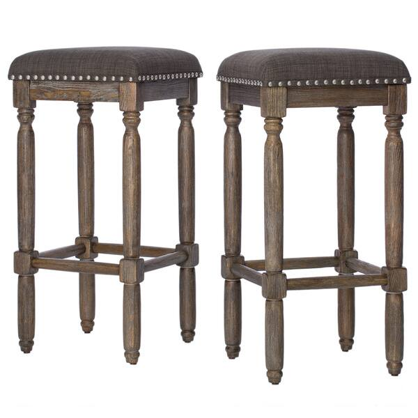 Fine Shop Gracewood Hollow Renate Grey Bar Stools Set Of 2 Customarchery Wood Chair Design Ideas Customarcherynet