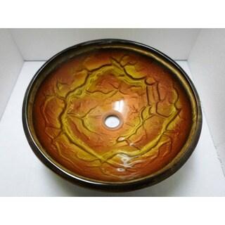 Rustic Antique Glass Bathroom Bronzen Vessel Sink