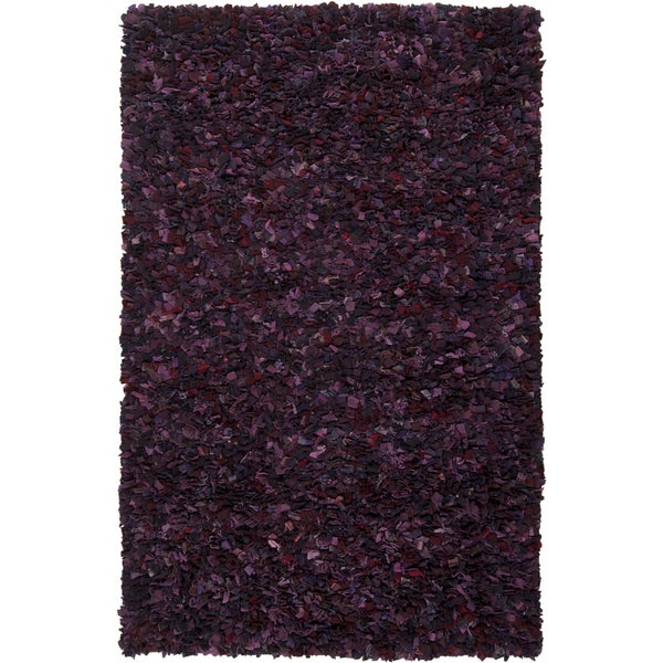 Hand-woven Thetford Purple Wool Recycled Fiber Shag (5' x 8')