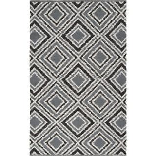 Hand-woven Velva Grey Wool Rug (2' x 3')