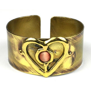 Handmade Peach Tiger Eye and Brass Heart Cuff (South Africa)