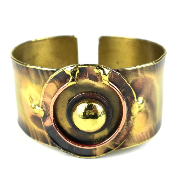 Handcrafted Circle Within Brass Cuff (South Africa)