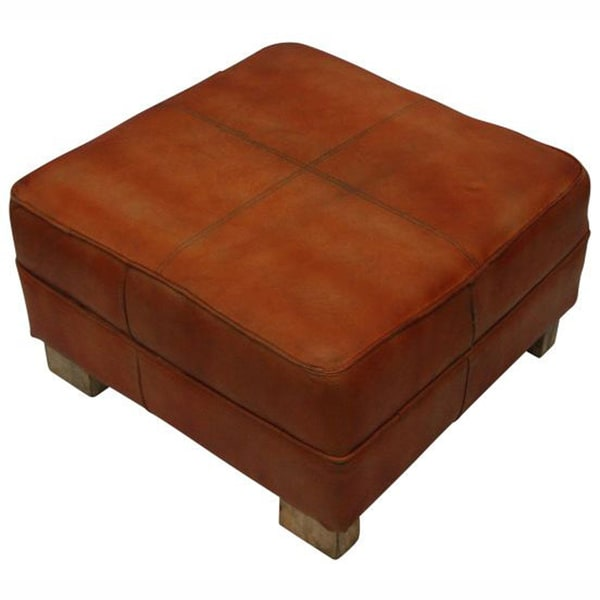 Nuloom Casual Living Moroccan Rust Leather Ottoman Free