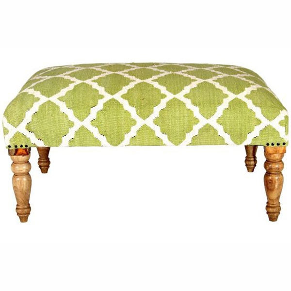 nuLOOM Hand-upholstered Moroccan Trellis Green Wood Bench