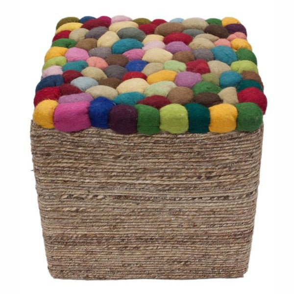 nuLOOM Handmade Casual Living Indian Multi Pebbles Pouf