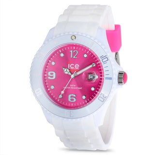 Ice White Men's Pink Dial White Rubber Strap Watch