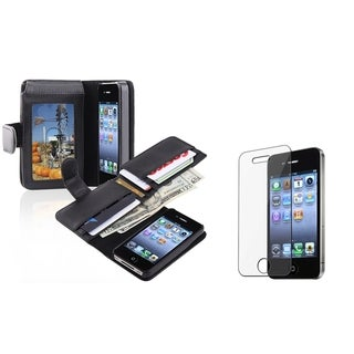INSTEN Wallet Phone Case Cover with Card Holder/ Protector for Apple iPhone 4/ 4S