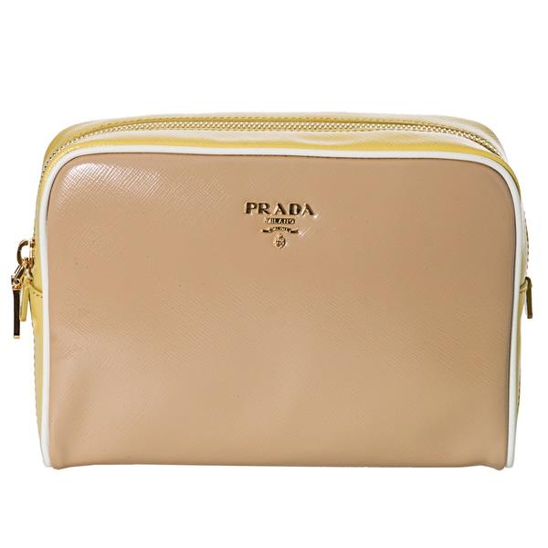 Prada Women's 'Vernice' Beige and Yellow Saffiano Leather Cosmetic Bag
