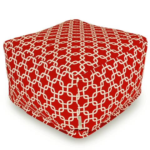Majestic Home Goods Indoor Outdoor Links Ottoman Pouf 27 in L x 27 in W x 17 in H