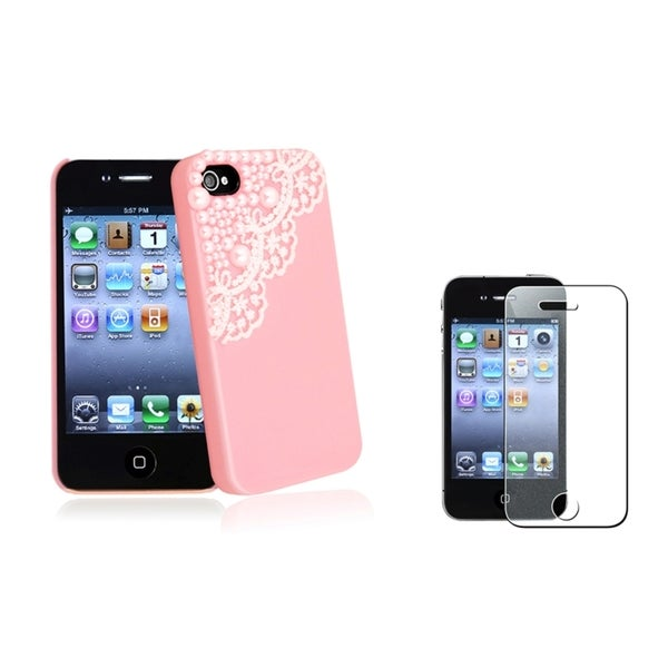 INSTEN Lace Pearl Phone Case Cover/ Diamond LCD Protector for Apple iPhone 4/ 4S
