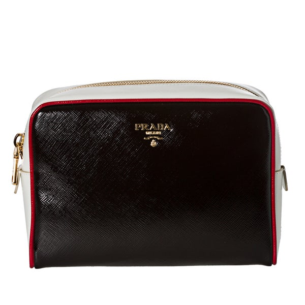 Prada Women's 'Vernice' Black and White Saffiano Leather Cosmetic Bag