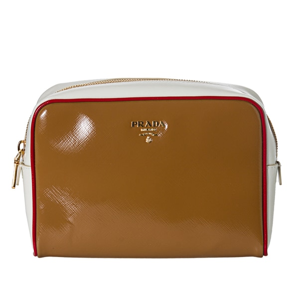 Prada Women's 'Vernice' Cream and White Saffiano Leather Cosmetic Bag