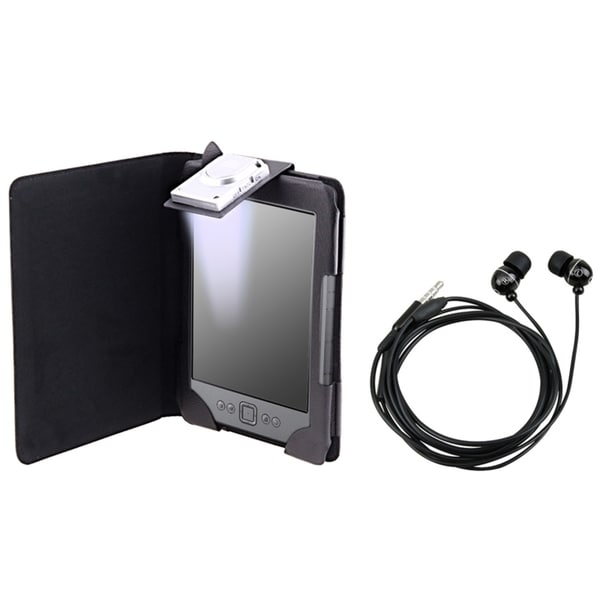 INSTEN Black Leather Phone Case Cover with Light/ Headset for Amazon Kindle 4