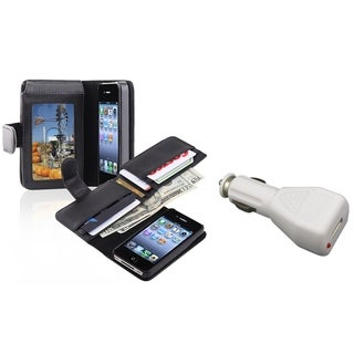 INSTEN Phone Case Cover with Card Holder/ Car Charger for Apple iPhone 4/ 4S