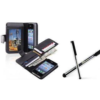 INSTEN Phone Case Cover with Card Holder/ Stylus for Apple iPhone 4/ 4S