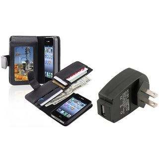 INSTEN Phone Case Cover with Card Holder/ Travel Charger for Apple iPhone 4/ 4S