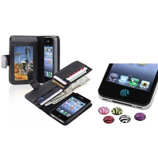 INSTEN Phone Case Cover/ Card Holder/ HOME Button Stickers for Apple iPhone 4/ 4S