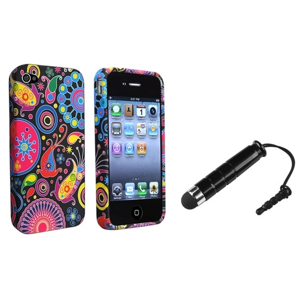 BasAcc Black/ Colorful Fish TPU Case/ Stylus for Apple iPhone 4/ 4S