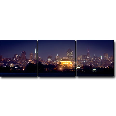 'Night of San Francisco' Canvas Art (Set of 3)