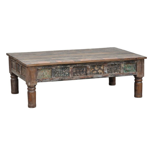 Kosas Home Carved Panel Multi/ Brown Coffee Table