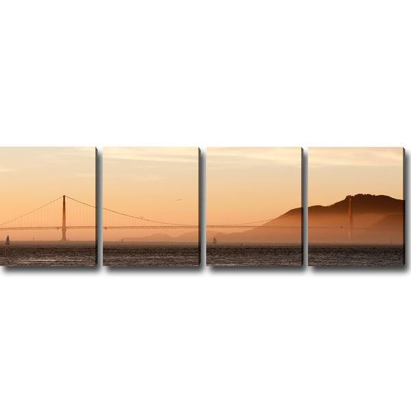 'San Francisco at Dawn' Canvas Art (Set of 4)